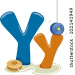 Illustration Featuring the Letter Y - stock vector