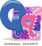 Illustration Featuring the Letter Q - stock vector