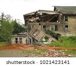 large  unsafe abandoned...   Shutterstock . vector #1021423141
