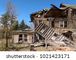 large  unsafe abandoned...   Shutterstock . vector #1021423171