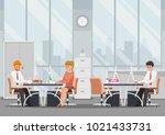 businessman and businesswoman... | Shutterstock .eps vector #1021433731
