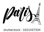 paris and eiffel tower logo... | Shutterstock .eps vector #1021437334