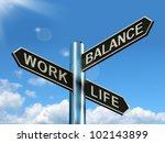 work life balance signpost... | Shutterstock . vector #102143899