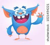 cute furry blue monster. vector ... | Shutterstock .eps vector #1021454221