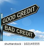 good bad credit signpost shows...   Shutterstock . vector #102145555
