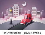 paper art of red car running... | Shutterstock .eps vector #1021459561