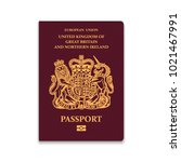 passport of united kingdom.... | Shutterstock .eps vector #1021467991