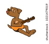 dog playing guitar | Shutterstock . vector #1021479019