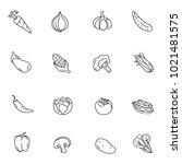simple vegetables icon set | Shutterstock .eps vector #1021481575