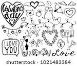 valentines day hand drawn... | Shutterstock .eps vector #1021483384