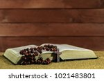 bible and the crucifix on a... | Shutterstock . vector #1021483801