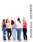 funny teenager girls pointing... | Shutterstock . vector #102148435