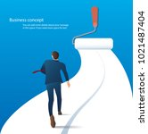 businessman running on the road ... | Shutterstock .eps vector #1021487404