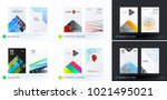 set of design of brochure ... | Shutterstock .eps vector #1021495021