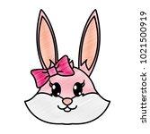 grated female rabbit head cute... | Shutterstock .eps vector #1021500919