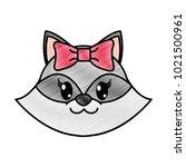 grated female raccoon head cute ... | Shutterstock .eps vector #1021500961