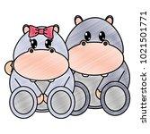 grated hippopotamus couple cute ... | Shutterstock .eps vector #1021501771