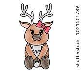 grated female reindeer cute... | Shutterstock .eps vector #1021501789
