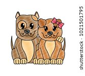 grated couple dog cute animal... | Shutterstock .eps vector #1021501795