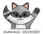 grated raccoon cute animal with ... | Shutterstock .eps vector #1021501825