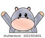 grated hippopotamus cute animal ... | Shutterstock .eps vector #1021501831