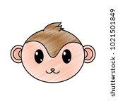 grated monkey head cute animal... | Shutterstock .eps vector #1021501849
