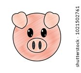 grated pig head cute animal... | Shutterstock .eps vector #1021502761