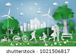 family enjoy fresh air in the... | Shutterstock .eps vector #1021506817