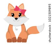 colorful female fox cute animal ... | Shutterstock .eps vector #1021509895