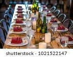wedding table settings.wedding... | Shutterstock . vector #1021522147