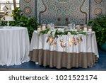 wedding table settings.wedding...   Shutterstock . vector #1021522174