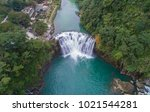 beautiful shifen waterfall... | Shutterstock . vector #1021544281