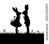 silhouette of loving couple... | Shutterstock .eps vector #1021551091