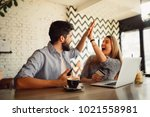 front view of an excited couple ... | Shutterstock . vector #1021558981