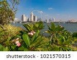 marina bay singapore asia...   Shutterstock . vector #1021570315