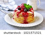 stack of homemade delicious... | Shutterstock . vector #1021571521