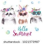 cute watercolor cat  panda ... | Shutterstock . vector #1021573987