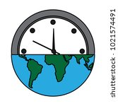 earth globe clock time ecology... | Shutterstock .eps vector #1021574491