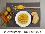 homemade noodle soup with...   Shutterstock . vector #1021581025