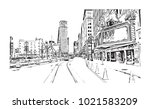 downtown street view with... | Shutterstock .eps vector #1021583209