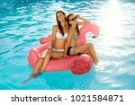 summer fun. fashion girls on... | Shutterstock . vector #1021584871