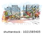 street view with buildings in... | Shutterstock .eps vector #1021585405