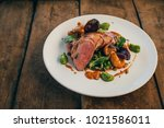 ros  duck breast with broccoli... | Shutterstock . vector #1021586011