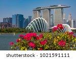 marina bay singapore asia...   Shutterstock . vector #1021591111
