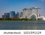 marina bay singapore asia...   Shutterstock . vector #1021591129