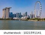 marina bay singapore asia...   Shutterstock . vector #1021591141