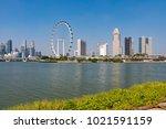 marina bay singapore asia...   Shutterstock . vector #1021591159