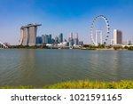 marina bay singapore asia...   Shutterstock . vector #1021591165
