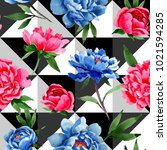 wildflower red and blue peonies ... | Shutterstock . vector #1021594285