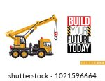 vector toy truck crane with... | Shutterstock .eps vector #1021596664